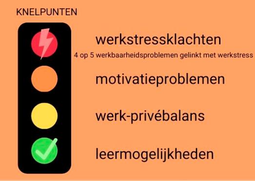 schematische voorstelling: knelpunten zijn werkstressklachten (rood), motivatieproblemen (oranje), werk-privébalans (geel), leermogelijkheden (groen)